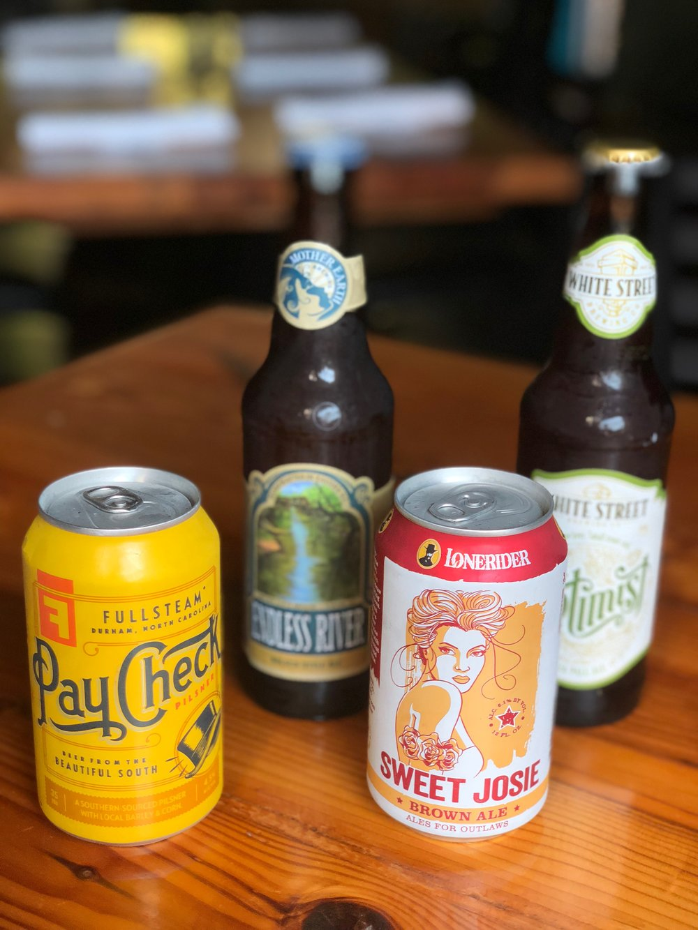 Some of the delicious NC beers that will accompany June's vegan dinner