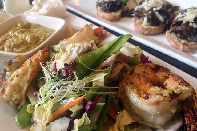 Left to right: Lemongrass Sambal Shrimp ($14), Truffled Crostini ($11)