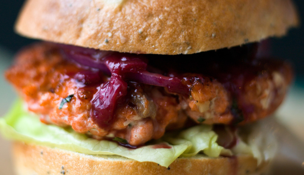 SALMON BURGERS WITH RHUBARB CHUTNEY