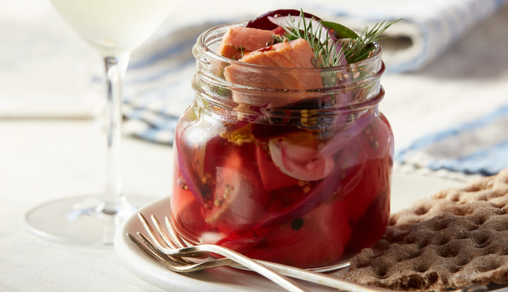 PICKLED SALMON WITH RED ONION & BEETS
