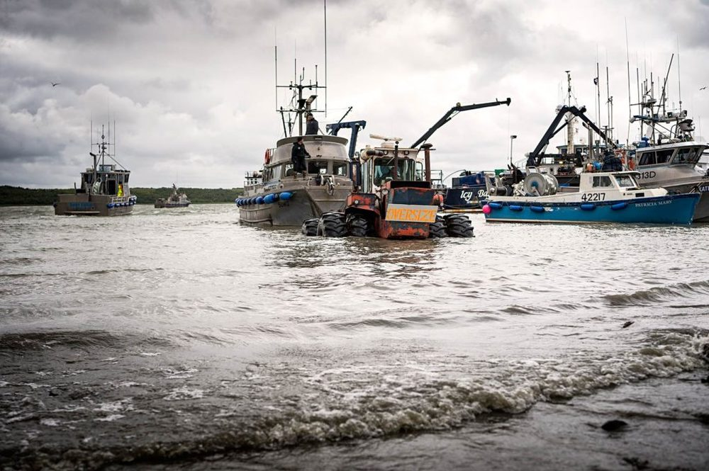 The F/V Sumo is launched by tractor into the Naknek River.