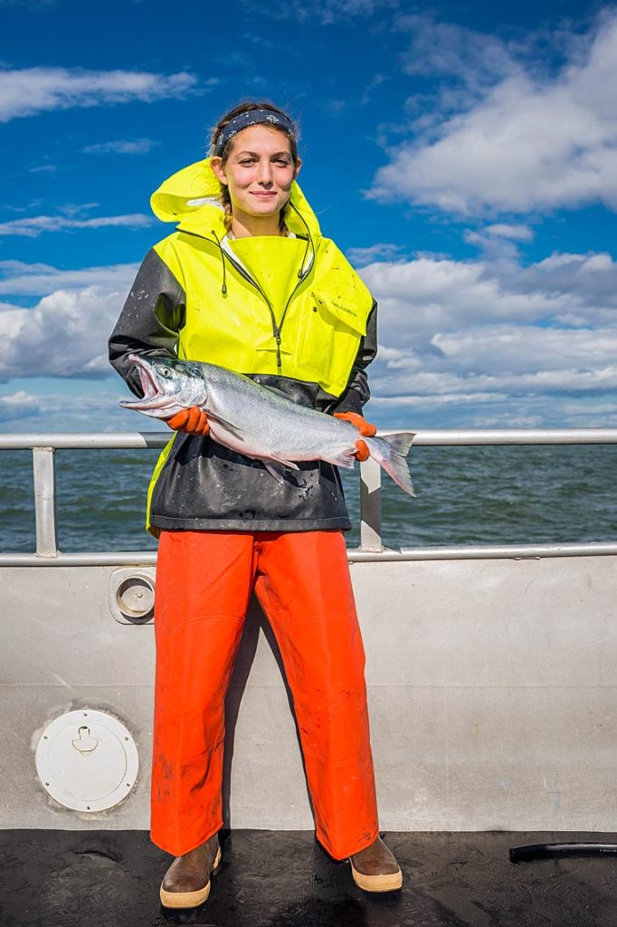 Abbey Knight, Coos Bay, OR, holds a sockeye.