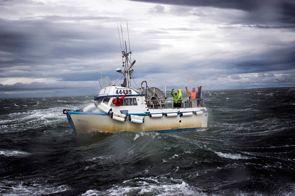 Wild times. The crew of the F/V Seahawk braves 60 mph gusts to put a few more sockeye aboard in Egegik.