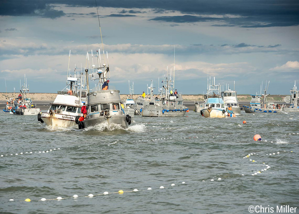 The F/V Yao and F/V Barbara J race to get their nets in the water as fishing heats up on Egegik's north line. Bristol Bay is considered a combat fishery, as fishermen jockey and fight to get their nets in the water to catch the walls of fish that flood into the districts.