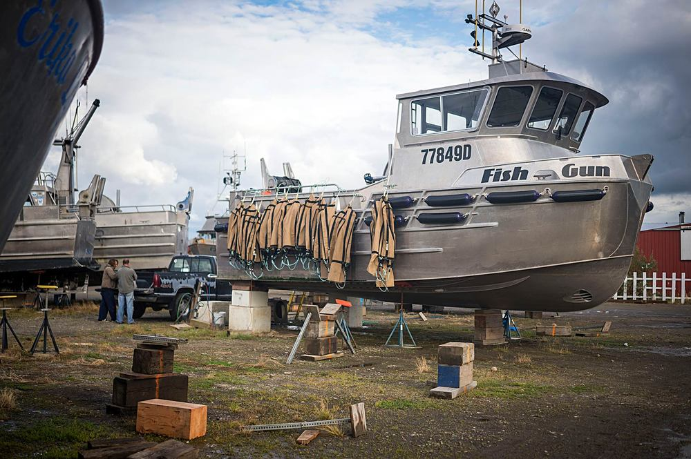 Once off the water fishermen still have plenty of work to do to prepare their boats for 11 months of storage. The F/V Fish Gun has its brailers drying over the side before being stored until next season.