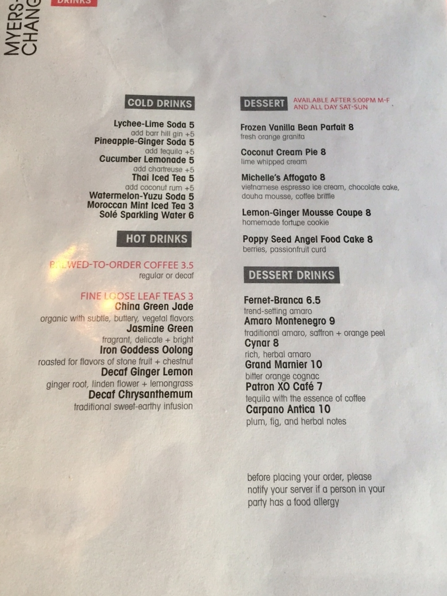 Drinks and Dessert Menu