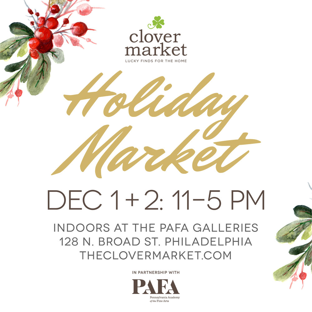 """Show us some """"Brotherly Love"""" - Tocco is going to Philly for the Clover Market holiday show in the beautiful PAFA Galleries Dec 1 & 2. Those who missed me in Bryn Mawr during the torrential rain in September, will be happy to know this show is indoors!"""