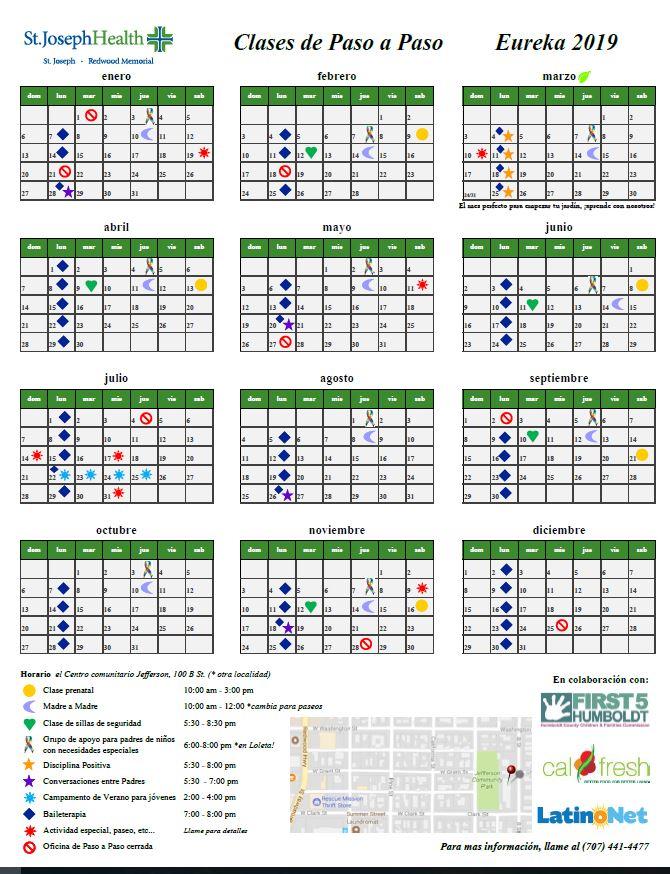 Enlace al calendario de Paso a Paso 2019