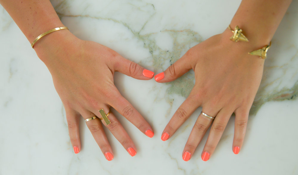 JNB:  ring,   bracelet  Marida:  ring,  Etsy:  bracelet ,  ring    Nail color: Gelish,  I'm Brighter than you