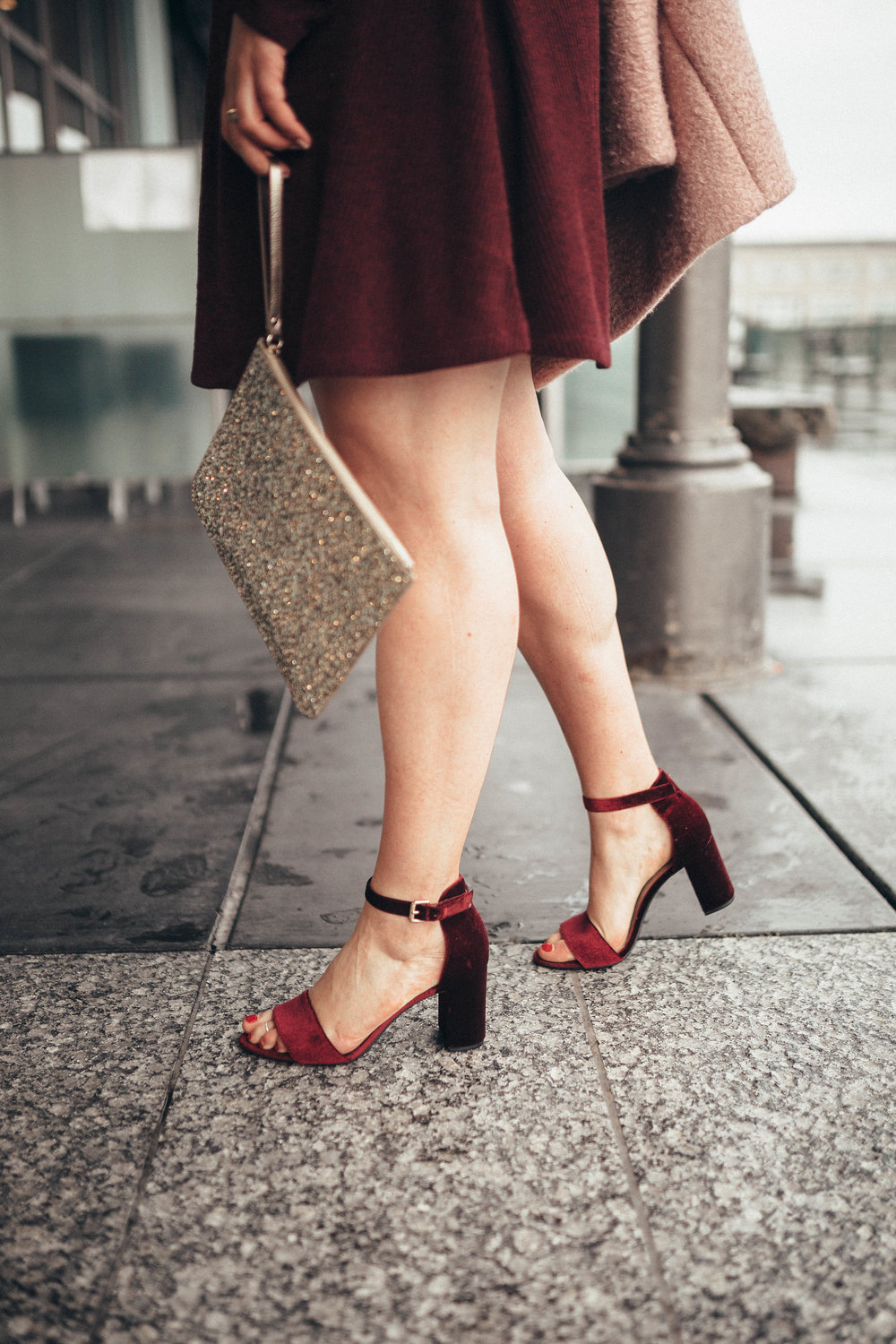 via Thea HoliYAY Winter Style with Old Navy velvet shoes