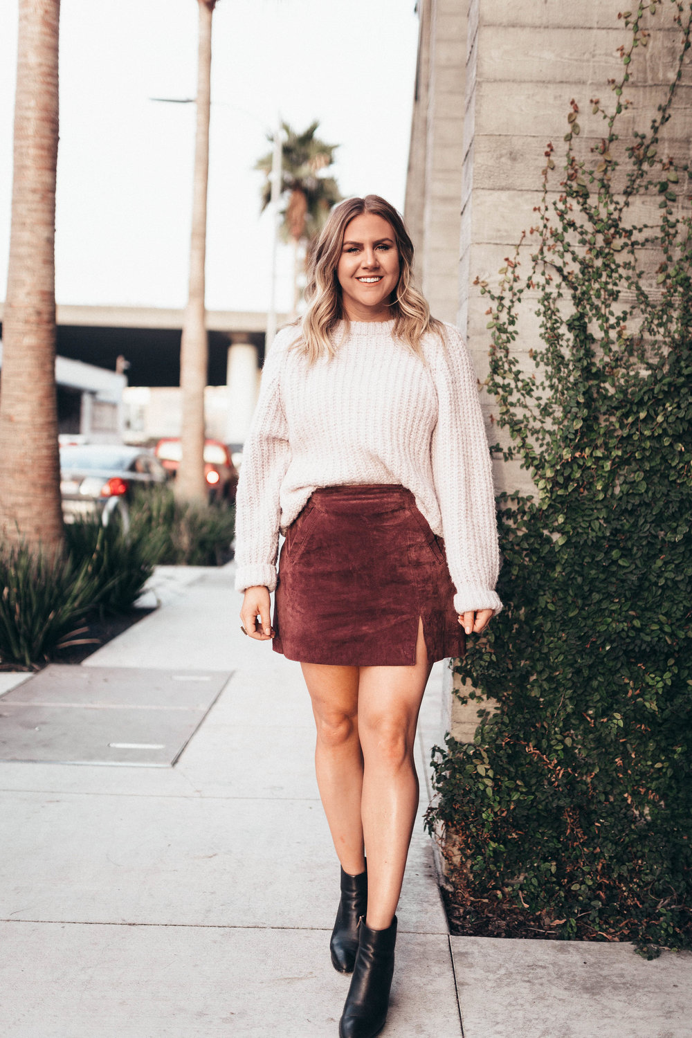 via Thea Suede Skirt & Knit Sweater