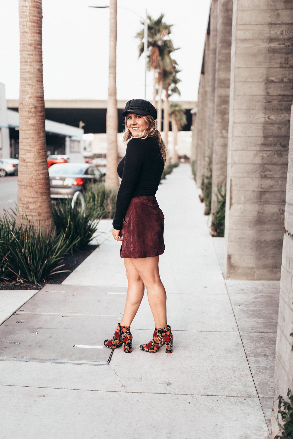 via Thea Suede Skirt, Star Sweater & Embroidered Booties