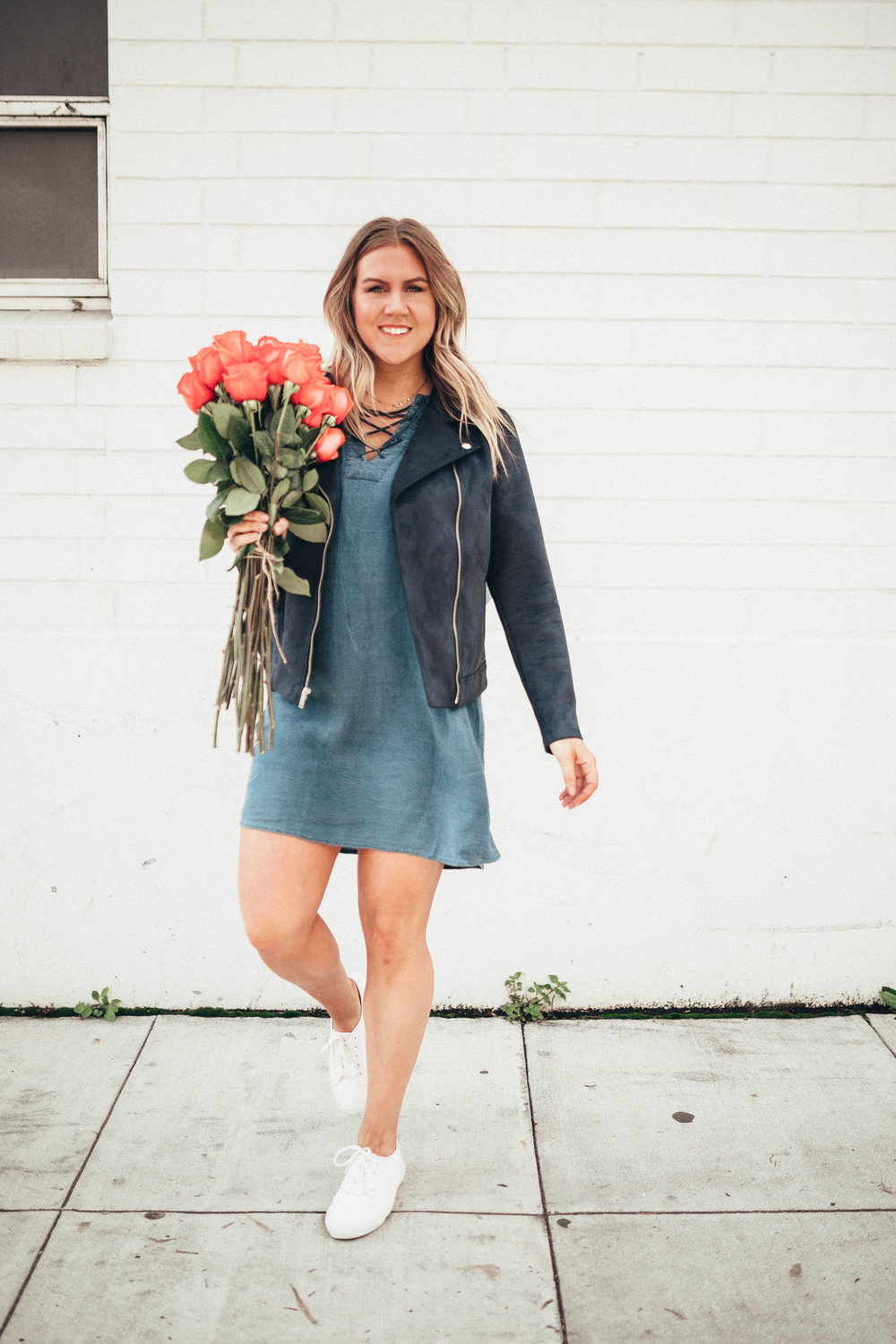 via Thea Old Navy Suede Jacket Flowers Dress
