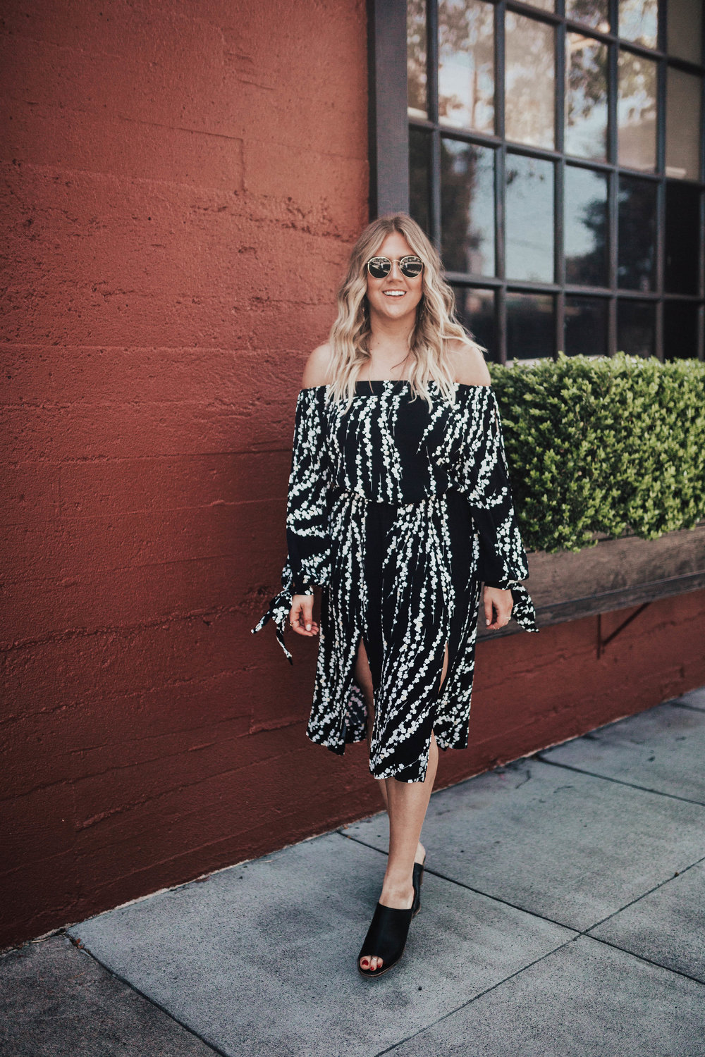 via Thea The Stylist LA(SF) Off Shoulder Dress -Wedding Guest