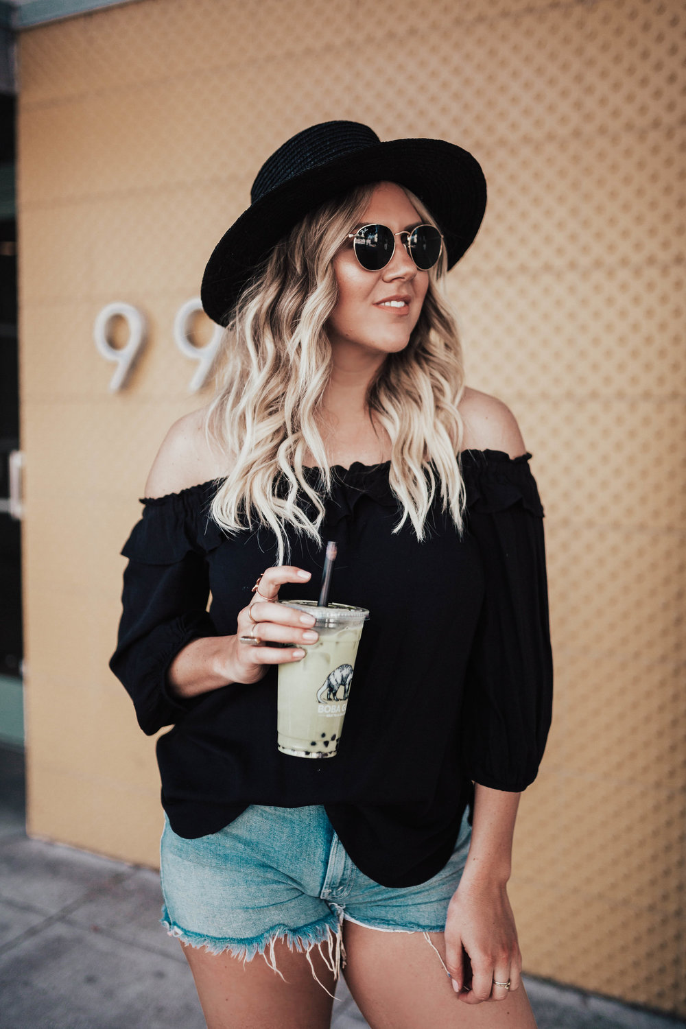 via Thea off shoulder top, black hat, boba guys