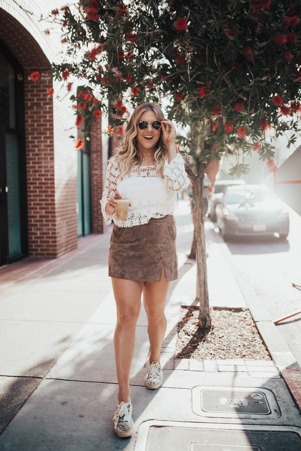 via Thea Suede Skirt, Espadrilles & crochet top
