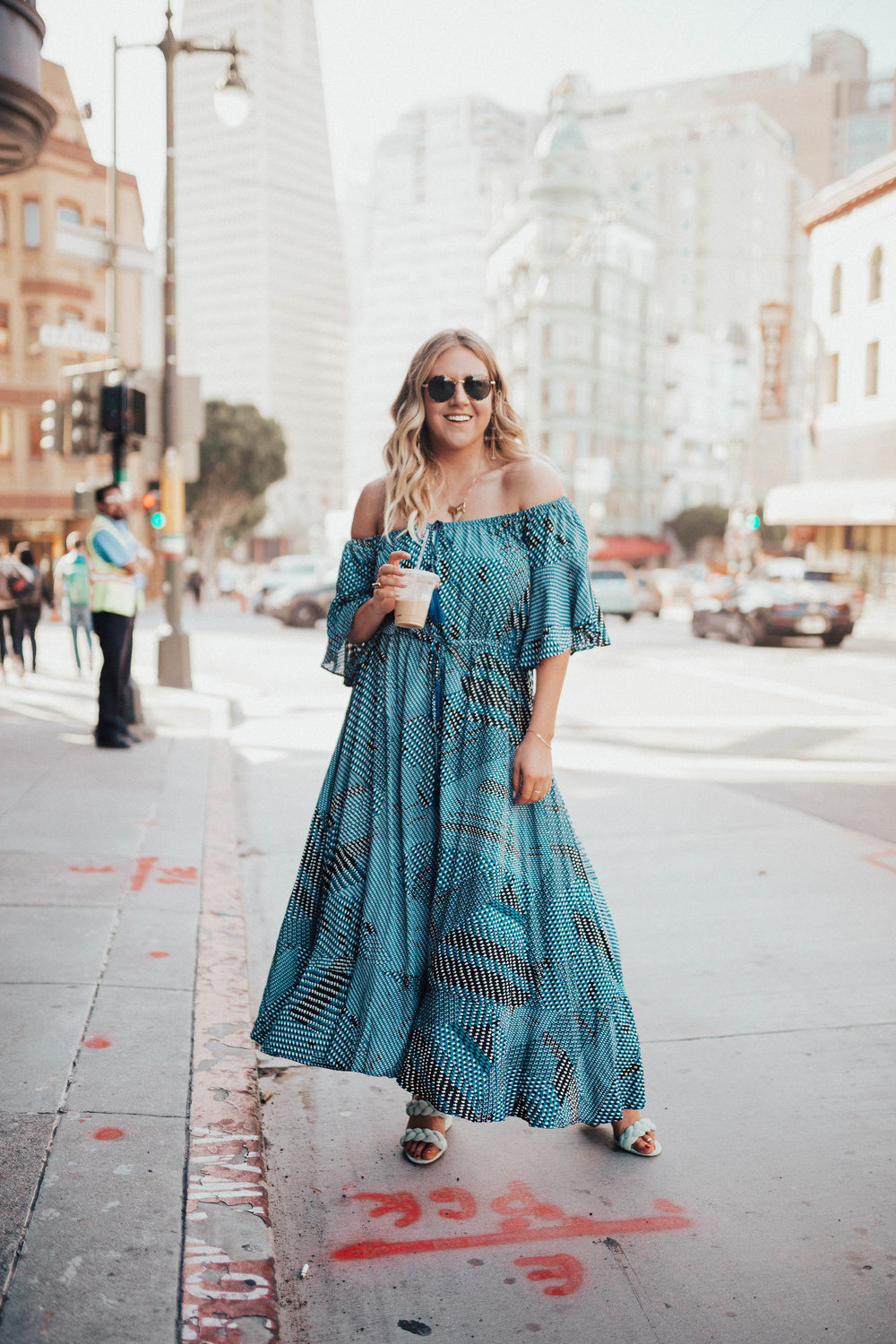 via Thea: Off the shoulder blue SheIn dress, BP sunnies
