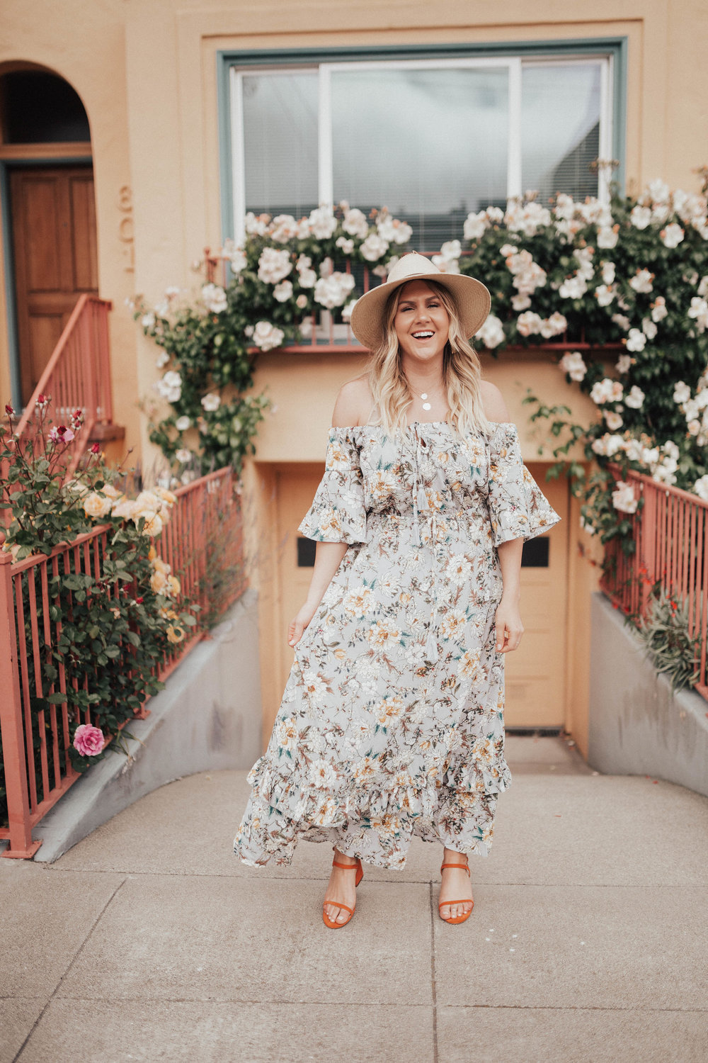 via thea floral dress under $25 janessa leone hat, matisse sandals, serefina necklace & earrings