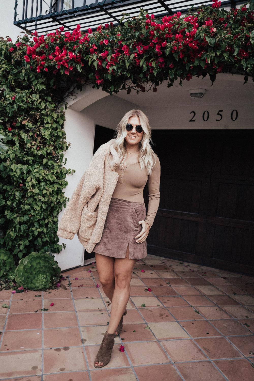 via Thea: Monochromatic In Brown. Fall fashion tan bodysuit, suede skirt, teddy coat, suede heels