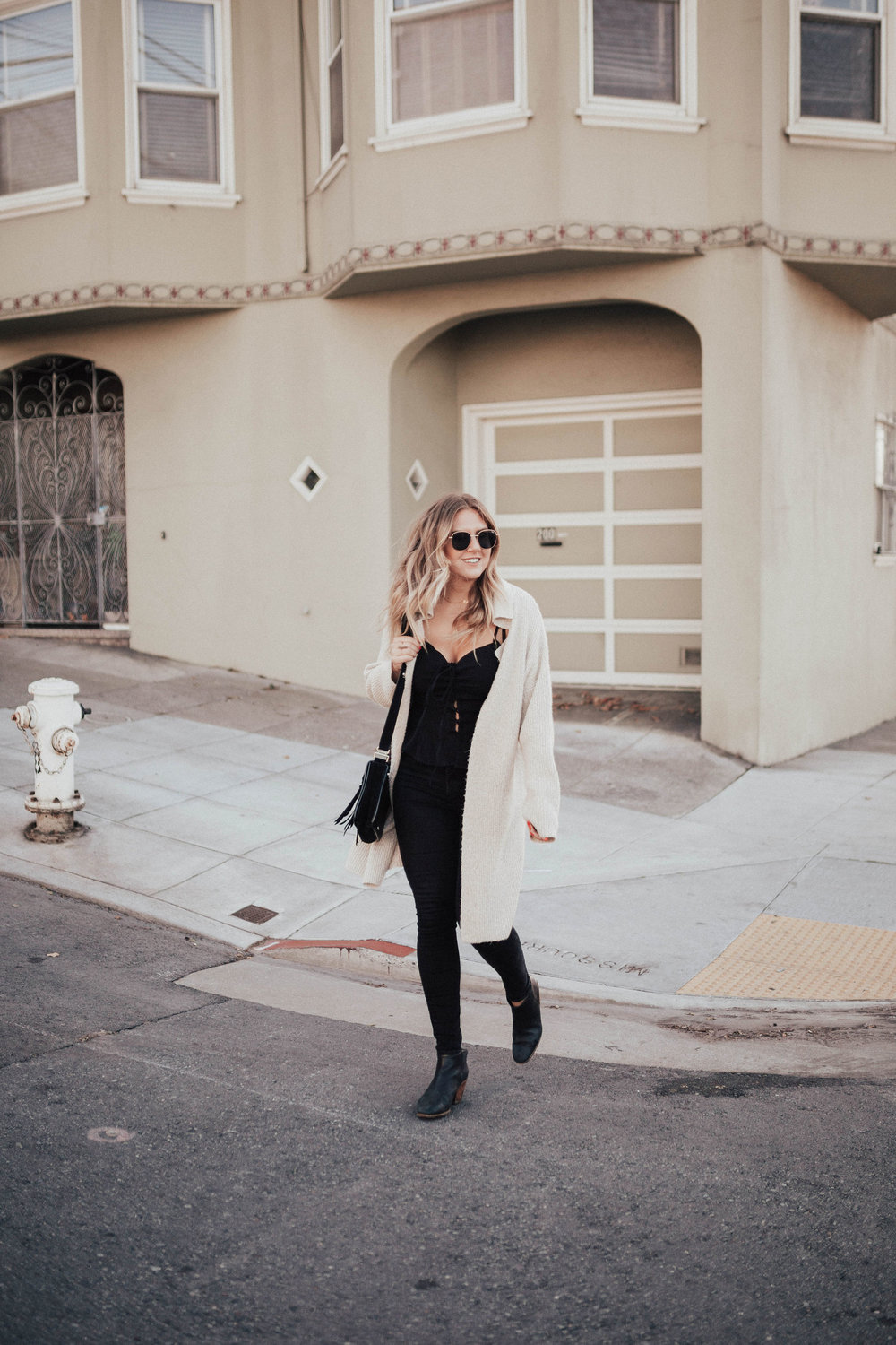 via Thea: Sweater, Free people top, old navy jeans, rachel comey boots, rebecca minkoff bag, katie dean necklace, quay sunnies
