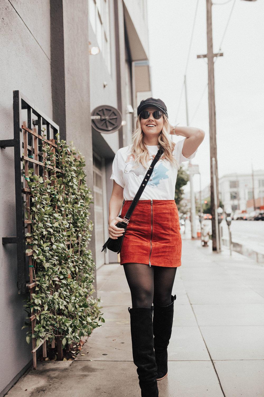 %t via Thea: Junk Food Rocker Tee & Blank Nyc Suede Skirt, mvmt sunnies, brixton hat