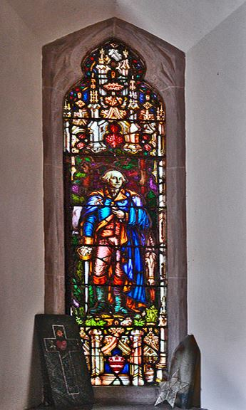Stained glass window showing George Washington at St. Philip's Church, present day.