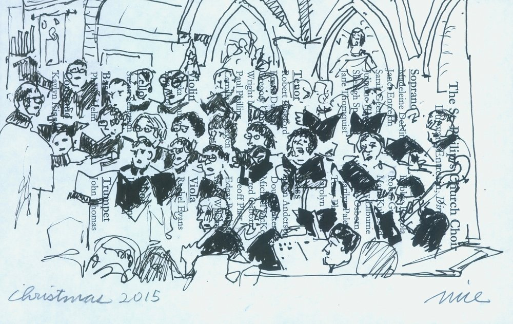 Don Nice sketches St. Philip's Church Choir during Christmas Concert (2015)