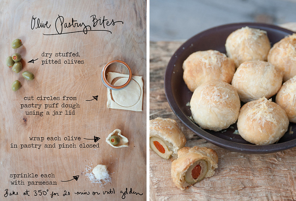 How cute are these? Just wrap stuffed olives (that you have dried off with a paper towel) in puff pastry and sprinkle with parmesan before baking. You can use olives stuffed with anything- pimento (like above), blue cheese, garlic, almonds etc…For more photos and details click on over to my Better Homes and Gardens post today. Artwork by Erin Gleeson, recipe adapted from BHG