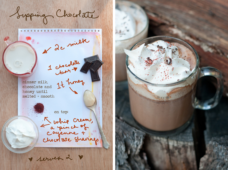 Happy Valentines Day! If you're staying cozy inside tonight, why not make a little hot cocoa from scratch? It's really simple! The whole recipe and more photos are in  my Better Homes and Gardens post today.   Recipe adapted from  BHG , photos and illustration by Erin Gleeson for  The Forest Feast.