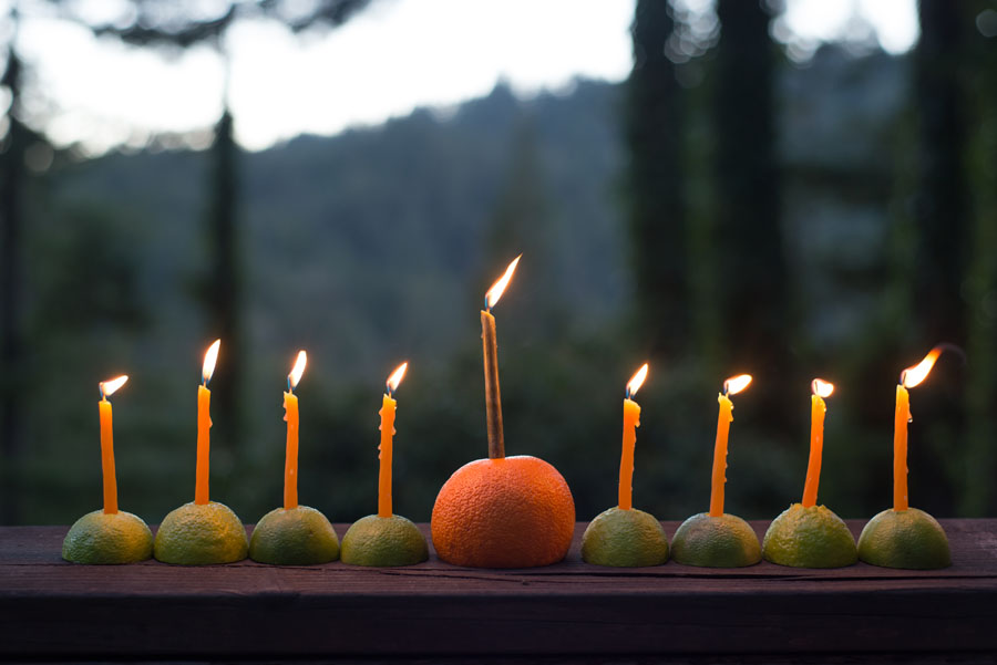 Citrus Menorah for Hanukkah