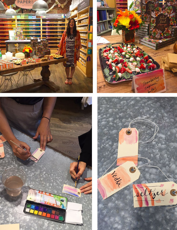 At Paper Source in Manhattan we did a watercolor crafting DIY from the book and I made lots of treats (like Strawberry Caprese Bites from the book) to nosh on at the signing.