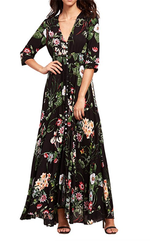 Milumia Black Floral Dress