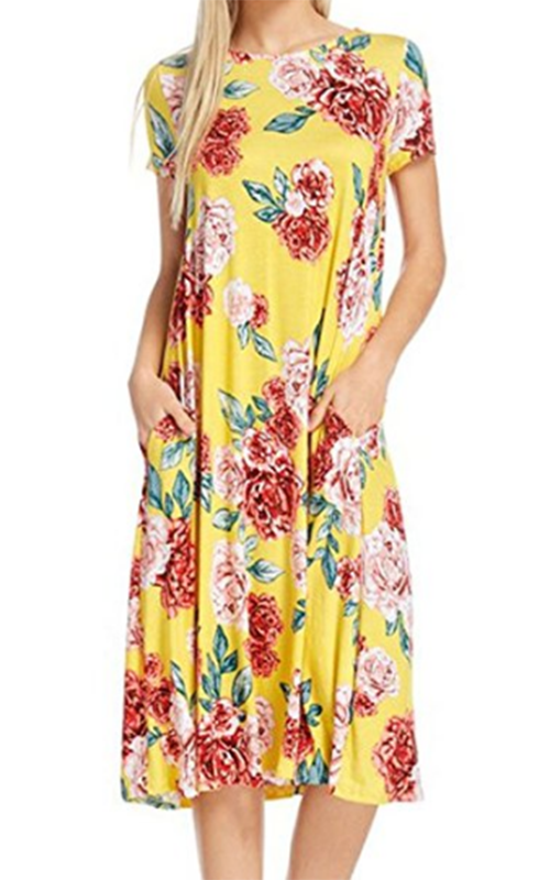 NeeSee Yellow Floral Midi Dress