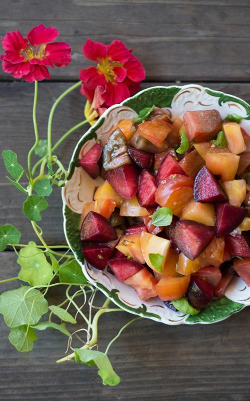 Plum, Tomato & Basil Salad