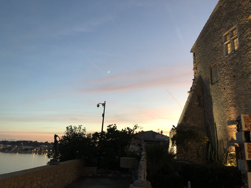 Sunset from the Picasso museum in Antibes. He worked in this building for several months and the paintings that came out of that time were very much inspired by the food in Antibes.