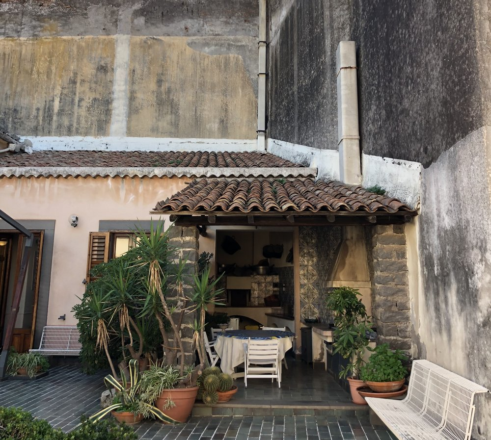 The patio and outdoor kitchen of the 18th Century villa we stayed at in Acireale.