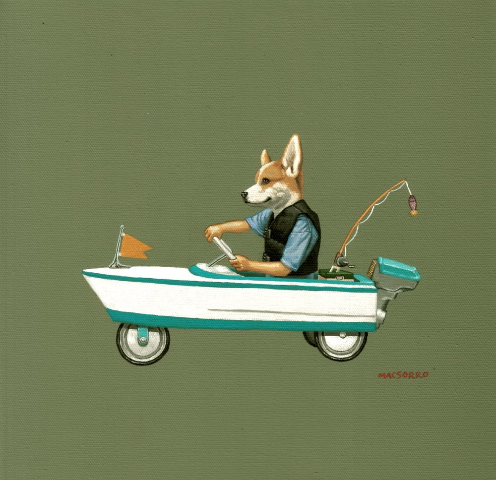 """Corgi Gone Fishing"" 12""x12"""