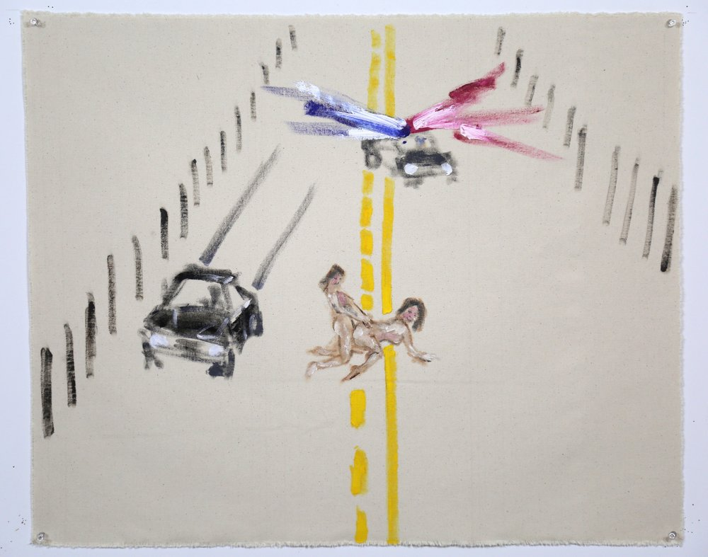 No One Will Be Watching Us Why Don't We Do It In the Road . Oil on raw canvas, 25 x 30 inches.