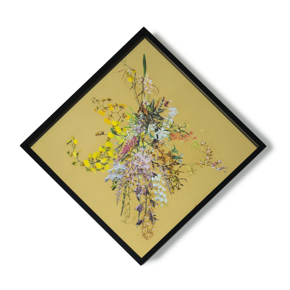 Gold Window (Orchid Mask I) , 2015 Collage on mirrored brass 34 x 34 inches, framed