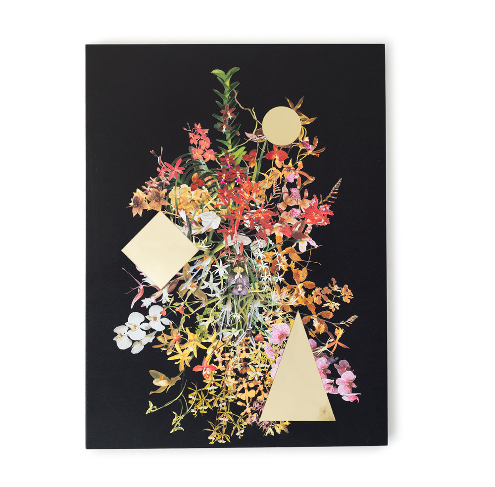 Orchid Stack (Gold Voids) , 2015 Collage on acrylic coated panel with mirrored styrene inlay 40 x 30 inches