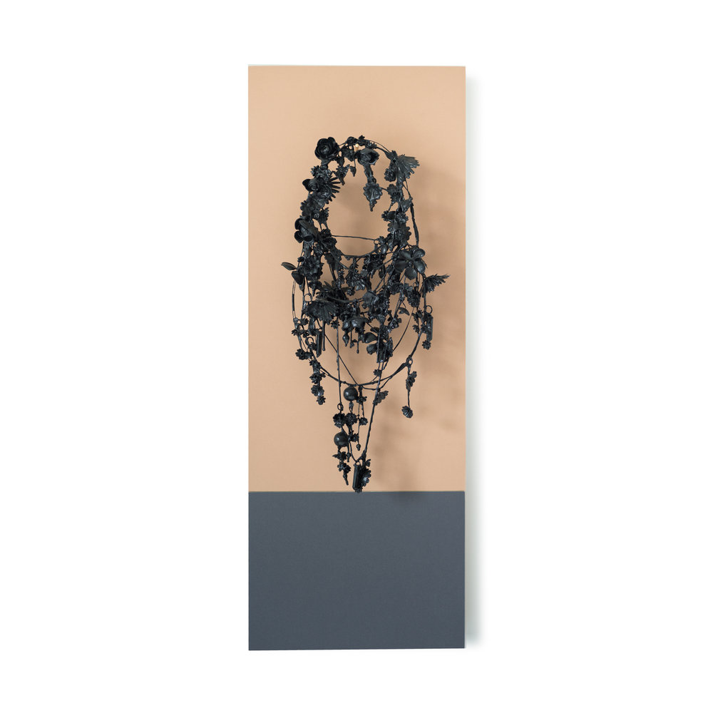 Necklace,  2011-16 Graphite and acrylic medium coated lucite, wood, brass, and waxed cord on archival paper mounted panels 33 x 12 x 5 inches