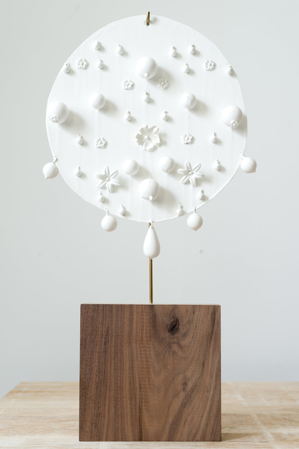 Disk V,  2012 Acrylic medium coated aluminum, Lucite, brass, wood 20 x 10 x 2 inches