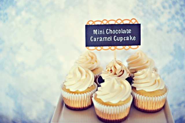 Mini Chocolate Caramel cupcakes for the baby shower on Maui