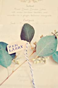 place card tag on seeded eucalyptus