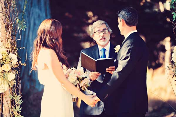 Jane and Tristan during their wedding ceremony