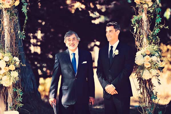 Tristan and officiant Mario waiting for Jane to walk down the aisle