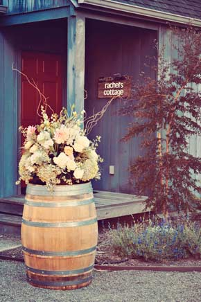 barrel with flower arrangement for wedding