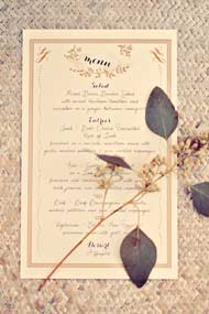 wedding menu with seeded eucalyptus