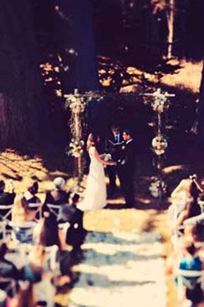 Birds-eye view of wedding in Mendocino