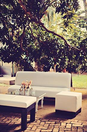 Haiku Mill Wedding, cocktail lounge, white wedding furiniture, Maui wedding